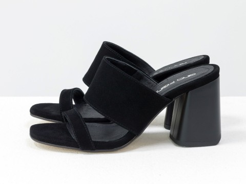 Классические босоножки на каблуке из натуральной черной замши, С-2016-09