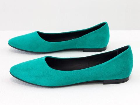 Классические туфли балетки бирюзового цвета из натуральной замши