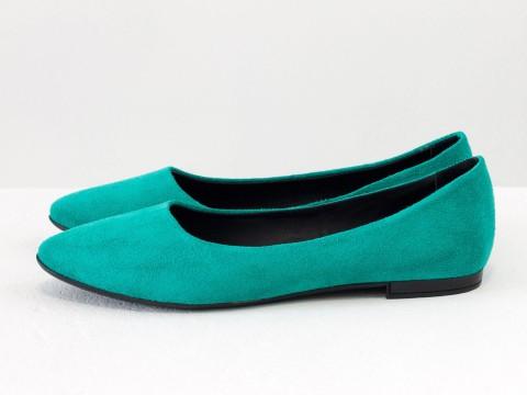 Классические туфли балетки из замша бирюзового цвета