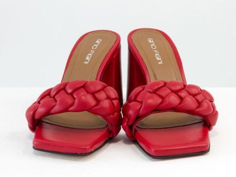 """Дизайнерские  босоножки """"косичка"""" на расклешенном  каблуке из натуральной итальянской кожи красного цвета"""