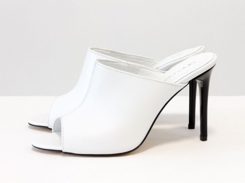 Шлепанцы-сабо на шпильке кожаные белого цвета , С-700-03