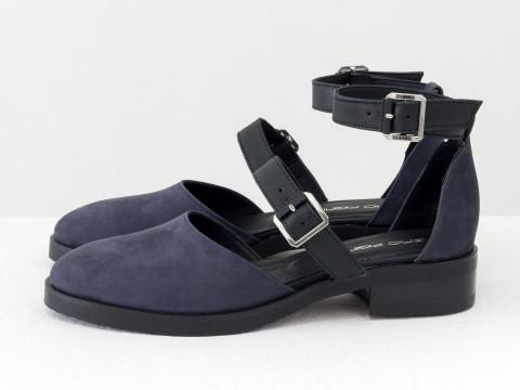 Женскиесиние матовые туфли из кожи с лаковыми ремешками, Д-23-27