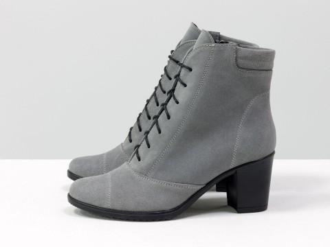 Женские ботинки на маленьком каблуке серого цвета, Б-157-10