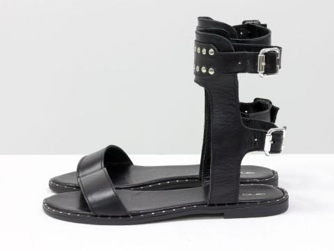 Черные босоножки кожаные высокие на подошве с металлическими гвоздиками,С-1813-01