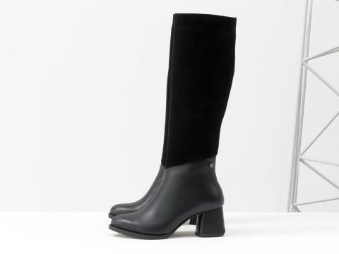 Cапоги из черной натуральной кожи и замши на удобном каблуке  каблуке, М-2047-01