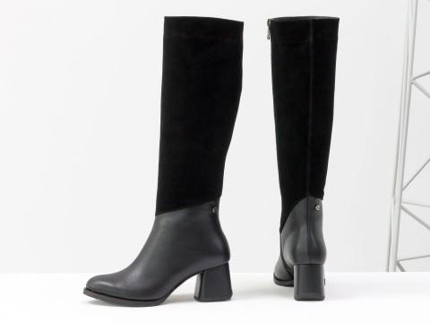 Осенние сапоги черного цвета из натуральной кожи  на устойчивом глянцевом каблуке, М-2047-01