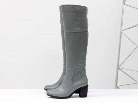 Сапоги на каблуке из кожи серого цвета, М-123-07