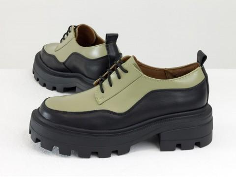Женские черно-оливковые туфли на тракторной подошве из натуральной   кожи, Т-2154-01