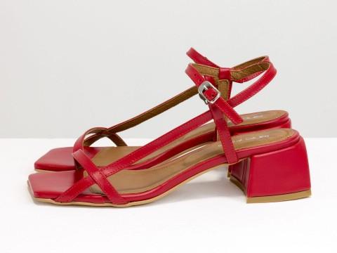 Дизайнерские красные босоножки на каблуке из натуральной итальянской кожи, С-2141-12