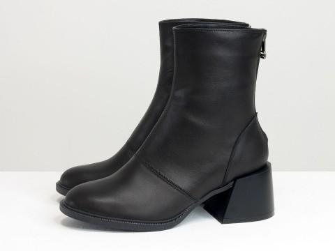 Женские классические ботинки черного цвета из натуральной кожи, Б-2159-01