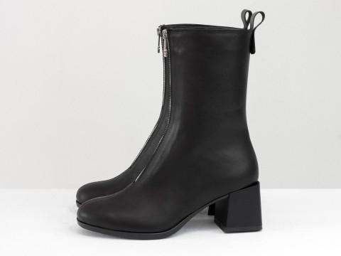 Женские классические ботинки черного цвета из натуральной кожи, Б-2160-01