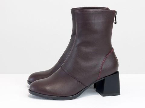 Женские классические ботинки бордового цвета из натуральной кожи, Б-2159-02
