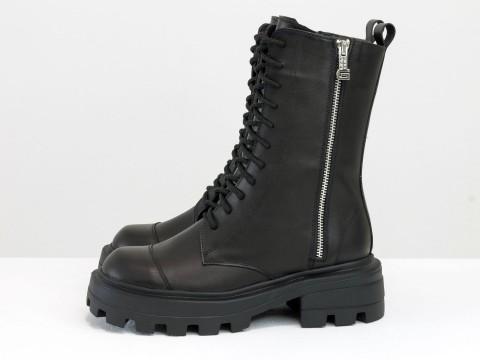 Женские ботинки черные из кожи на шнуровке с молнией, Б-2162-01