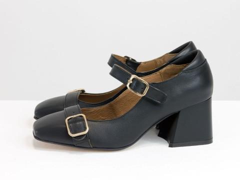 Дизайнерские на невысоком обтяжном каблуке из натуральной итальянской кожи черного цвета на черной подошве с золотой фурнитурой,Т-2156-01