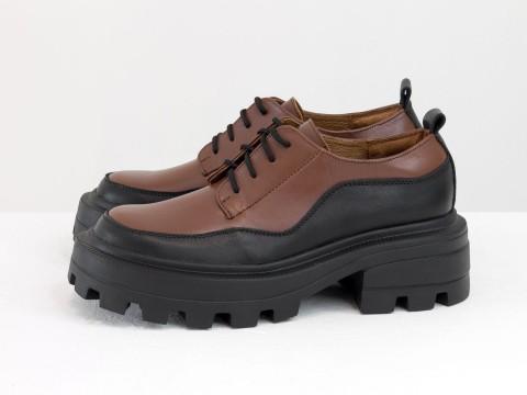 Женские черно-карамельные туфли, которые сочетают в себе стиль дерби и лоферов на утолщенной тракторной подошве из натуральной кожи, Т-2154-06