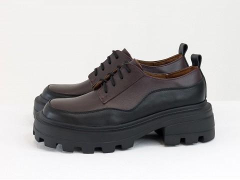 Женские черно-бордовые туфли, которые сочетают в себе стиль дерби и лоферов на утолщенной тракторной подошве из натуральной кожи, Т-2154-05
