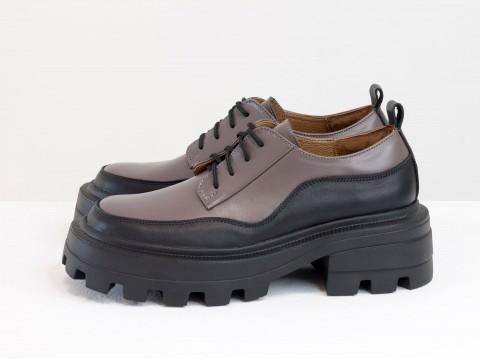 Женские черно-сиреневые туфли, которые сочетают в себе стиль дерби и лоферов на утолщенной тракторной подошве из натуральной кожи,Т-2154-04