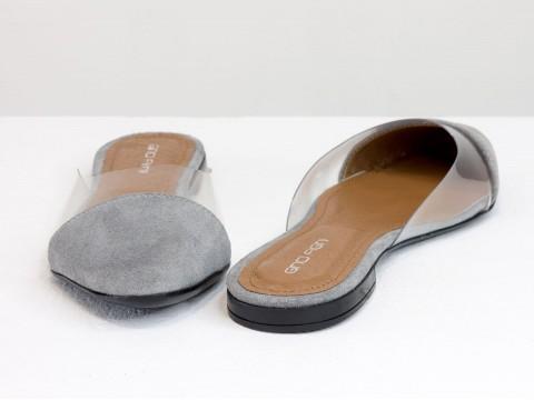 Мюли из натуральной итальянской замши серого цвета и силиконом