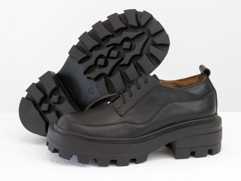 Женские черные туфли на тракторной подошве из натуральной   кожи, Т-2154-07