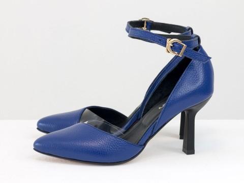 Синие туфли лодочки из натуральной  кожи флотар на шпильке, Т-1928-09