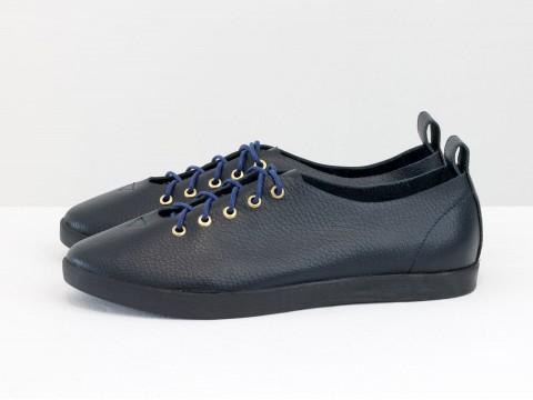 Женские спортивные туфли синего цвета из кожи,Т-17412-08
