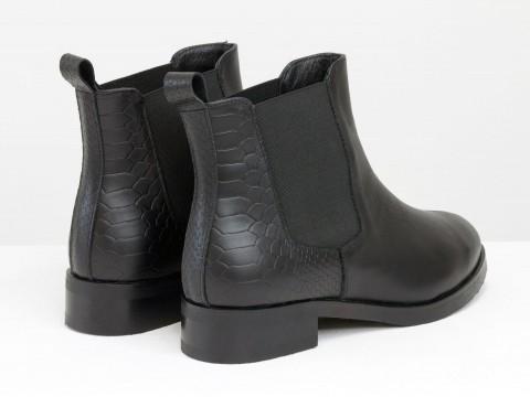 Ботинки Челси свободного одевания из натуральной черной кожи с текстурой питон