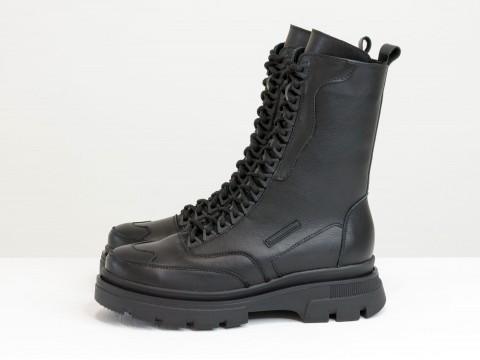 Женские спортивные ботинки из черной кожи на модной подошве