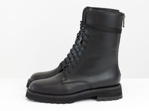 Женские ботинки черные из кожи на шнуровке, Б-2168-01