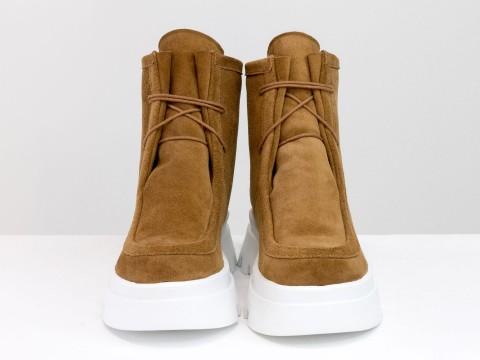 Женские  ботинки  из натуральной замши рыжего цвета,Б-2175-01