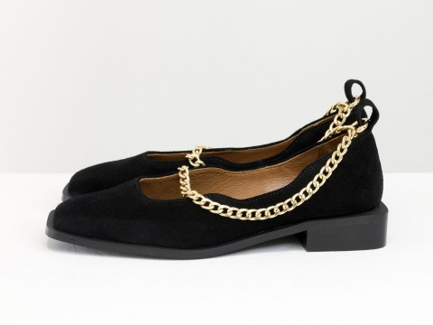 Женские черные туфли на низком ходу из натуральной  замши с цепочкой, Т-2113-09
