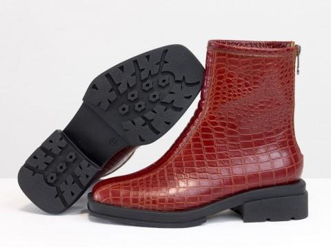 Женские  ботинки из натуральной  янтарной кожи с квадратным носом, Б-2176-01