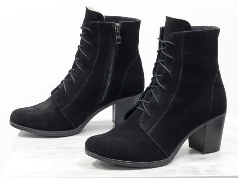 Ботинки из натуральной черной замши со шнуровкой на устойчивом каблуке,Б-156
