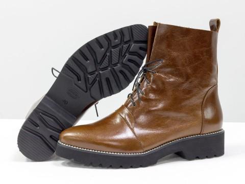 Лакированные ботинки женские из кожи, Б-17331