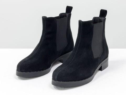Ботинки Челси из натуральной замши черного цвета с широкой резинкой
