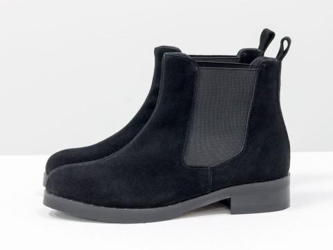 Ботинки Челси из замши черного цвета, Б-1788-07