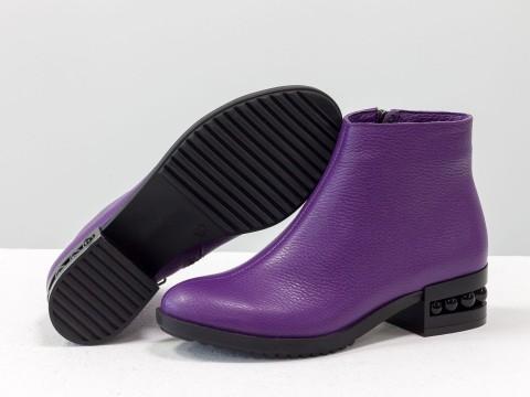 Весенние ботинки женские фиолетового цвета из натуральной кожи, Б-1833-03