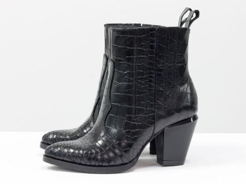 """Весенние ботильонына каблуке из натуральной кожи """"крокодил"""" черного цвета"""