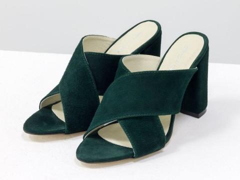 Шлепанцы на каблуке из замши ярко зеленого цвета, С-17048-04