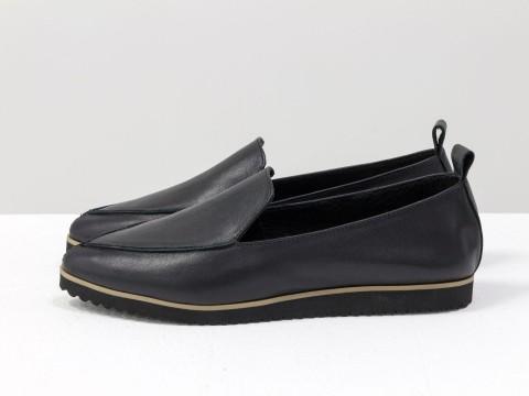 Черные туфли на низком ходу из кожи,Т-1707-21