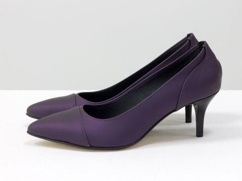 Туфли черно-фиолетовые из натуральной кожи с эффектом сатин на маленькой шпильке , Т-1910-04