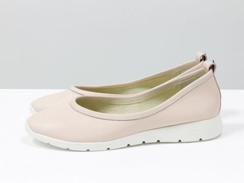 Женские пудровые туфли из кожи на удобной подошве , Т-1918-01