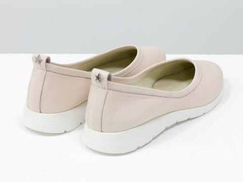 Женские пудровые туфли на низком ходу из натуральной кожи