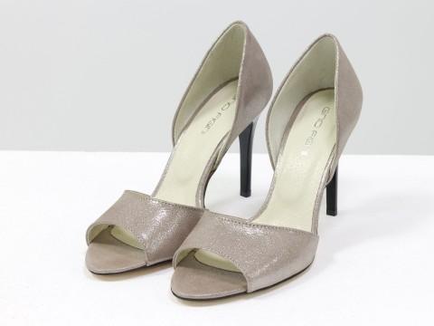 Пудровые туфли из натуральной кожи с открытым носиком на шпильке