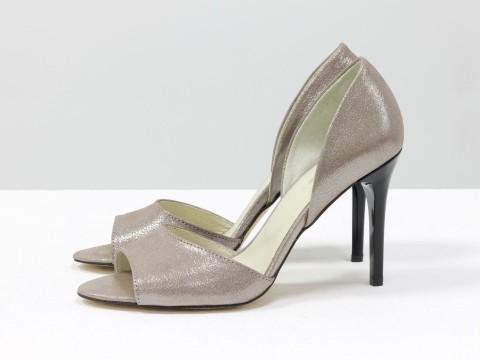 Пудровые туфли из натуральной кожи на шпильке, С-1926-02