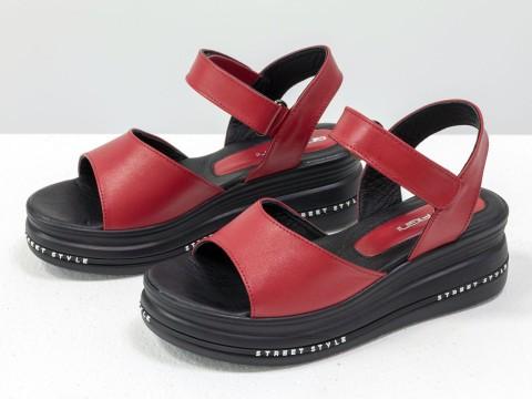 Красные босоножки из кожи на низком ходу на низком ходу