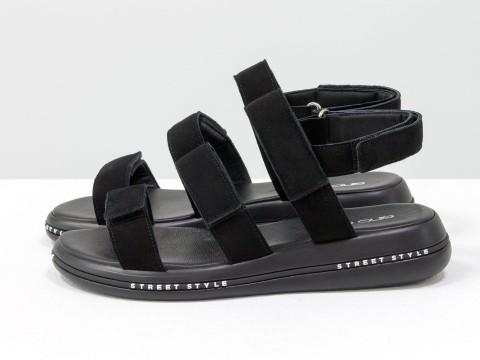 Черные босоножки из натуральной замши в спортивном стиле, С-2026-01