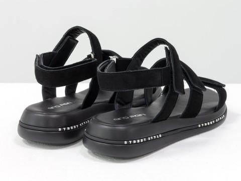 Черные босоножки из натуральной замши в спортивном стиле
