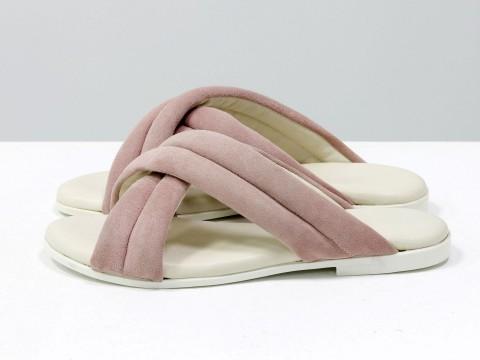 Летние шлепанцы пудрового цвета из нежной замши на белой подошве без каблука,С-2029-01