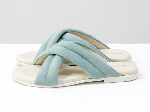 Летние шлепанцы голубого цвета из нежной замши на белой подошве без каблука, С-2029-02