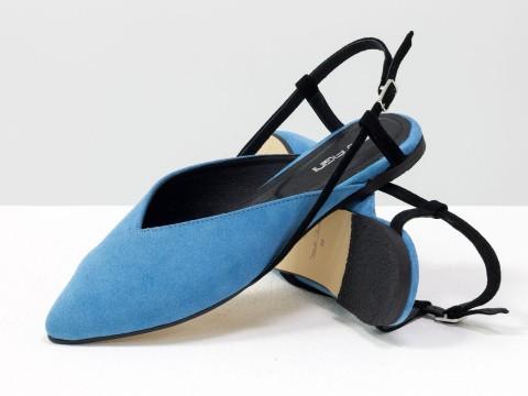 Женские туфли с открытой пяткой из велюра голубого цвета